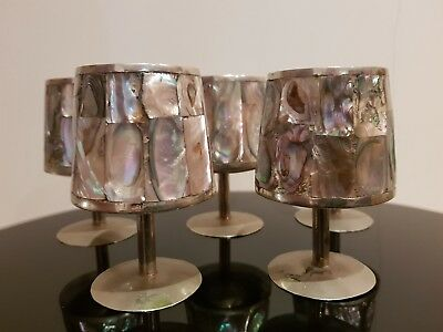 VINTAGE MEXICAN ALPACA MOTHER OF PEARL WINE GLASSES GOBLETS (x5)