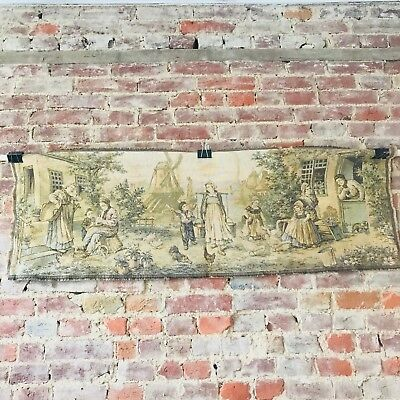 """Wall Hanging Tapestry Rug Retro Vintage Peasant Village Scene French 19"""" x 54"""""""