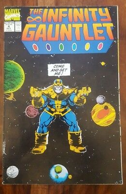 Infinity Gauntlet #4 from Oct 1991  Thanos vs the Marvel Universe