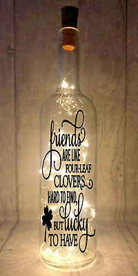 Friends are like four-leaf clovers Light Up Wine Bottle Present Gift idea