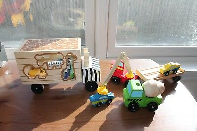 Melissa & Doug Wooden Trucks Animal Rescue Shape Sorting and Magnetic Loader Lot