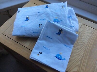 Boys Next pirate single fitted sheet and pillow case set Good clean condition