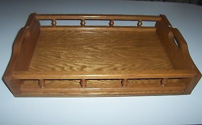 Hand Crafted Oak Wood Serving Tray With Rail