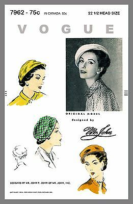 Hat Vintage Vogue Millinery Designer Mr John Beret Hat Fabric sew pattern # 7962