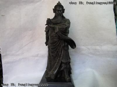China Bronze base Marble Chinese famous Dragon Guan Gong Guan Yu warrior Statue