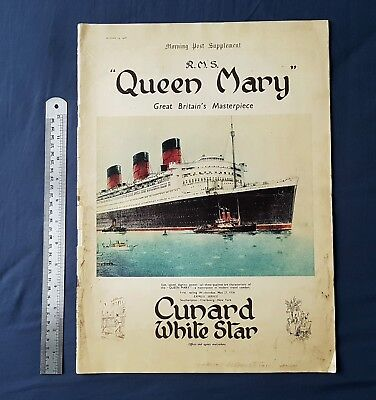 Original 1935 32 page Queen Mary supplement. Cunard White star Line interest.