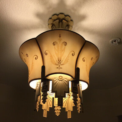 Rare 1920's Art Deco Flushmount  Beardslee Chandelier w/Glass Shade