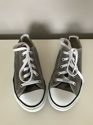 CONVERSE ALL STAR Boys Girls  Youth Gray Canvas Low Top Sneakers Shoes Size 3