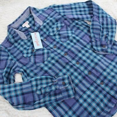 Cat & Jack Blue Orange Transitional Boys' Long Sleeve Button Down Shirt