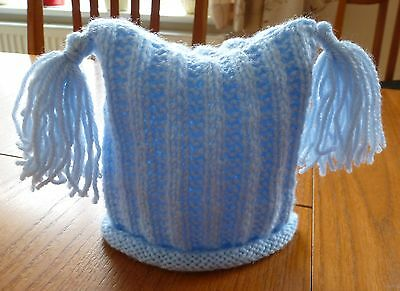 Lovely Handmade Newborn Boys Plain Blue Flat Rib with Tassles Knitted Baby Hat