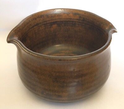 Vintage Handmade Artisan Signed Glazed Stoneware Pottery Brown Spouted Bowl