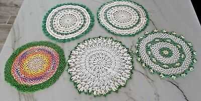LOT OF 5 GREEN VINTAGE Hand Crocheted Doily ROUND Doilies