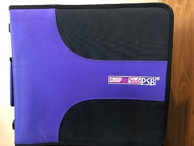 Crop And Style PSB Scrapbook Sticker 3 Ring Binder With 29 Pages Purple Black
