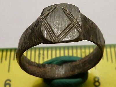 1384Ancient Roman bronze ring with decoration 15 mm.