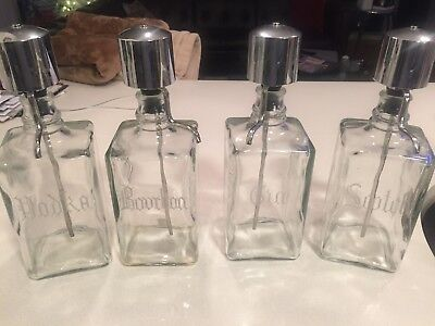 Vintage Pump Top Etched Glass Liquor Decanter Set, BOURBON, GIN, SCOTCH, VODKA