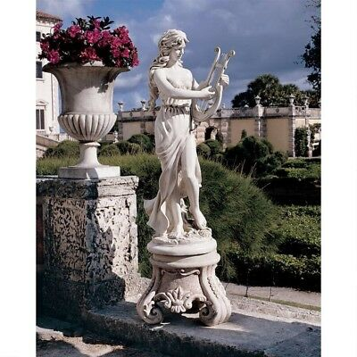 "47"" Classic Roman Statue Maiden W/ Harp Sculpted Beauty by Carlo Bronti"