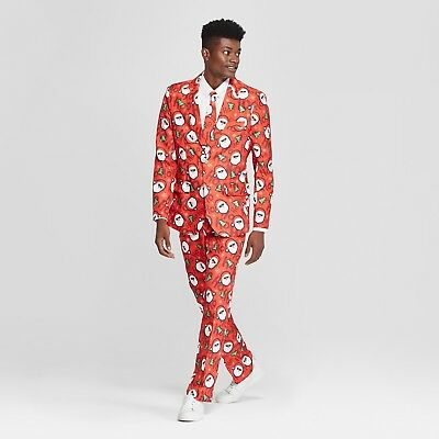 Suitmeister Men's Ugly Christmas Santa Print Costume Jacket/Pants/Tie Size Small