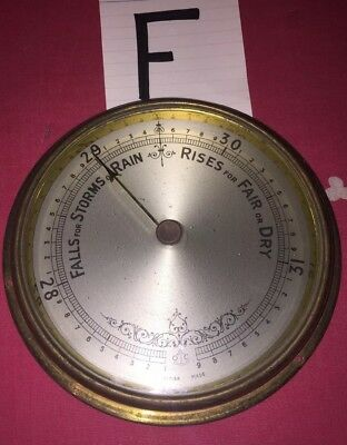 ANEROID 13cms BAROMETER BEZEL Bevelled GLASS With HAND Pointer(F) silver Dial