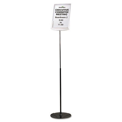 """Sherpa Infobase Sign Stand, Acrylic/Metal, 40""""-60"""" High, Gray"""
