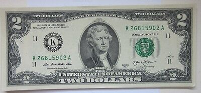 Two Dollar Bill ($2) from BEP Pack-Rare-Sequential Numbers-Perfect Uncirculated