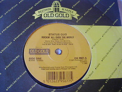 """Status Quo - Rockin All Over The World/paper Plane - Old Gold 7"""""""