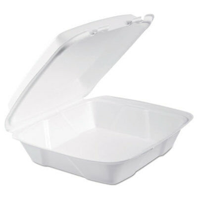 Foam Hinged Lid Containers, 9.375 x 9.375 x 3, White, 200/Carton