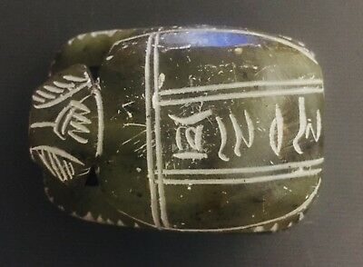Egyptian Carved Green Soapstone Scarab Beetle Paperweight with Hieroglyphics 3""