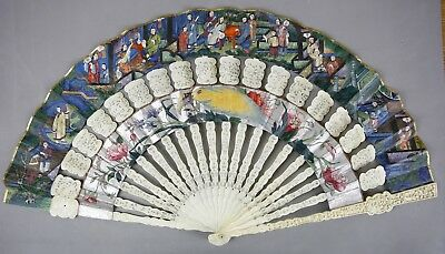 Large Fine 19Th C.century Chinese Cabriolet Silver Painting Fan