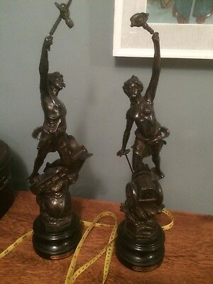 Pair Vintage Spelter Figures Automobile And Aeroplane. 19 Inches High