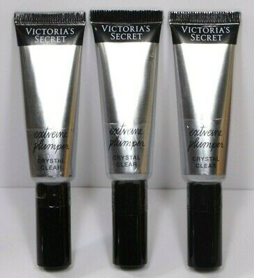 X 3 VICTORIA'S SECRET EXTREME PLUMPER CRYSTAL CLEAR .38oz NO LABEL ON THE BACK