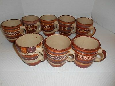 Lot Of 8 Mexico Clay Unglazed Coffee Water Cups.mugs  W/handles Hand Painted