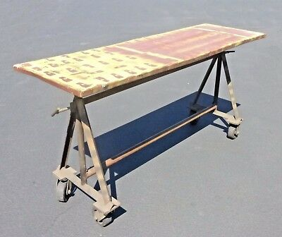 Vintage Industrial Farmhouse Entry Metal Rolling Table  French Country Style