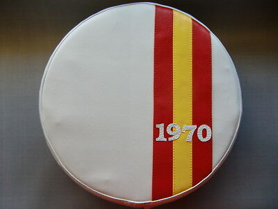 Spanish Stripe White (Any Year) Scooter Wheel Cover