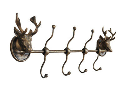 Cast Iron Wall Mounted Stags Head Deer Antlers Hat Coat Storage X8 Wall Hooks
