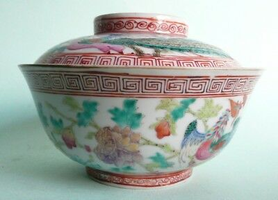 Antique Chinese Famille Rose Porcelain Bowl & Cover...........ref.1497