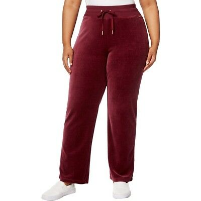 Calvin Klein Womens Heathered Wide Leg Velour Sweatpants Pants Fig Red New 1X