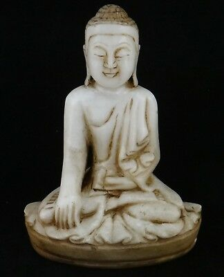 """Very Fine Burmese Carved Alabaster Seated Buddha, 18th/19th c. 10 ¼"""" tall"""