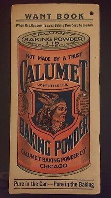 Antique Advertising Calumet Baking Powder Notebook Circa 1900