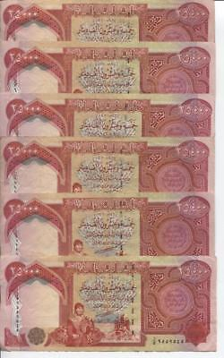 100,000 IRAQI DINAR CIRCULATED ( USED )CURRENCY 4 x 25,000 25000 IQD