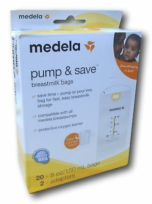 Medela Pump & Save Breastmilk Bags, 20 Count and 2 Adapters -New in Box BPA Free