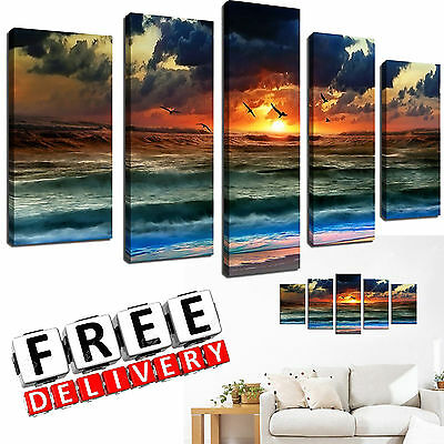 Beach Canvas Wall Art Painting Framed Large Print Hang Modern Picture Home Decor