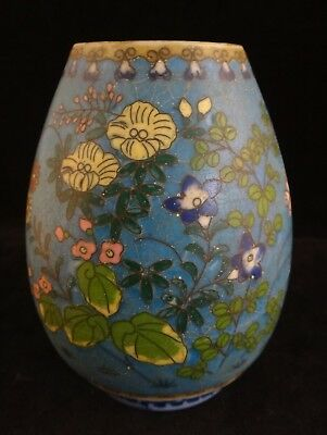 "Antique Japanese Totai Cloisonné on Porcelain Vase. Meiji 1868-1912. 4 ½"" tall"