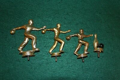 Vintage Lot Of Bowling Trophy Toppers Metal