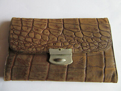 Vintage crocodile type leather wallet British 1910s 1920s early 20th century