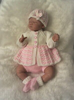 "Sweet Hand Knitted Jacket/Pants Set Reborn Baby 19""/ 20"" or Newborn Baby"