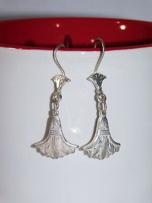 Egyptian Solid Sterling Silver Stamped Handcraft Lotus French Wire Earrings