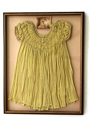Antique late 1800-1900's ruffles Embroidered yellow short sleeve Girls Dress