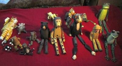 Lot Of 16Cute Ledge Sitting Wooden Decorations Cats Frogs Dogs Maine Fisherman