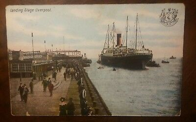 White Star Line Cymric at Liverpool Landing Stage dated 1905 original postcard