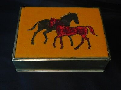 Antique Vintage German Brass UNIQUE Horses Painted Inlay Glass Stone Box Case